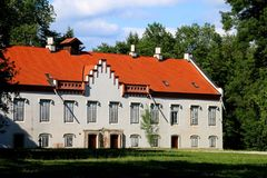 Zapresic, Croatia. Historical castle in the complex `Novi dvori` in Zapersic, Croatia. It belonged to historic Croatian viceregent Josip Jelacic stock photo