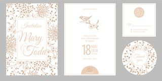 Zaproszenia, dziękuje ciebie, rsvp szablonów karty i pokrywę z przepływem, ilustracja wektor