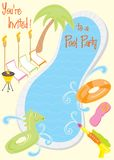 zaproszenia przyjęcia basenu lato ilustracji