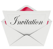 Zaproszenia słowa karty koperta Zapraszająca Bawić się wydarzenie Obraz Royalty Free