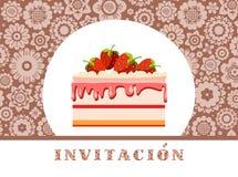 Zaproszenie świętowanie, truskawka tort, hiszpańszczyzny, brąz, kwiecisty, wektor royalty ilustracja