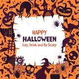 Zaproszenie dla Halloween przyjęcia Straszny tło z różnymi symbolami ilustracji