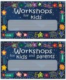 Zaproszenie dziecka ` s lekcje i kreatywnie pogonie również zwrócić corel ilustracji wektora ilustracja wektor