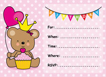 Zaproszenie Karciana Urodzinowa dziewczyna Zdjęcie Stock