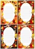4 zaproszenie kart jesieni Pusty spadek Zdjęcie Royalty Free