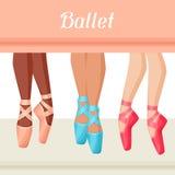 Zaproszenie karta baletniczy tana przedstawienie z pointe ilustracja wektor