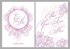 Zaproszenie karta dla ślubu Zdjęcia Stock