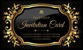 Zaproszenie karta - luksusowy czarny i złocisty projekt w rocznika stylu ilustracja wektor
