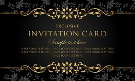 Zaproszenie karta - luksusowy czarny i złocisty rocznika styl ilustracji