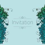 Zaproszenie karta z doodle kwiatami royalty ilustracja
