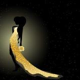 Zaproszenie karta z dziewczyną w fiołek sukni Zdjęcie Royalty Free