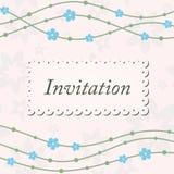Zaproszenie karta z fala i błękitem kwitnie na beżowym tle Zdjęcia Royalty Free