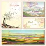 Zaproszenie karta z jesień krajobrazami. Obraz Royalty Free