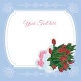 Zaproszenie karta z wiązką kwiaty ilustracja wektor