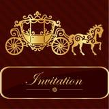 Zaproszenie karta z złotym literowaniem Rocznika koński kareciany projekt Dobry pomysł dla szablonu, ślubna karta, retro styl Wek Obraz Royalty Free