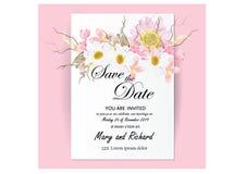 Zaproszenie karty kwiatów pojęcie przychodzący z menchia koloru kwiatu drzewnego bukieta czereśniowym okwitnięciem, kosmos, i ilustracji