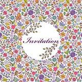Zaproszenie kolorowa kwiecista karta royalty ilustracja