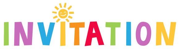 ZAPROSZENIE, kolorowy literowanie z słońcem jako kropka na, stosowny dla dzieci, przyjęcie urodzinowe zapraszam ilustracja wektor