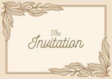 Zaproszenie liścia karciany ornament ilustracja wektor