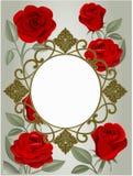 Zaproszenie lub kartka z pozdrowieniami z czerwonymi różami i złotą ramą ilustracji