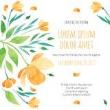 Zaproszenie prysznic bridal karta z pomarańczowym kwiatem Zdjęcia Stock