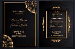 Zaproszenie szablonu ślubny luksusowy złoto ilustracja wektor