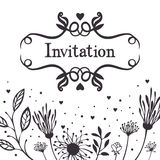 Zaproszenie z abstrakcjonistycznym kwiecistym tłem ilustracji