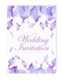 Zaproszenie z akwarela kwiatu płatkami Zdjęcia Royalty Free