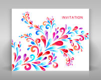 Zaproszenie z kwiecistą dekoracją Zdjęcia Stock