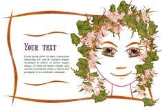 Zaproszenie z obrazkiem dziewczyny ` s twarzy kontur, aplikacja Obraz Stock