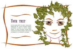 Zaproszenie z obrazkiem dziewczyny ` s twarzy kontur, aplikacja Fotografia Stock
