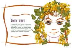 Zaproszenie z obrazkiem dziewczyny ` s twarzy kontur, aplikacja Obrazy Royalty Free
