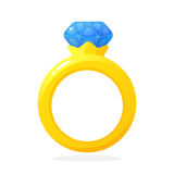 Zaręczynowy złocisty pierścionek z diamentem Obraz Royalty Free
