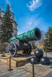 Zar o rey Cannon en Moscú el Kremlin, Rusia Foto de archivo libre de regalías