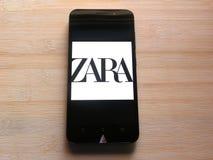 Zara app op mobiele telefoon royalty-vrije stock fotografie