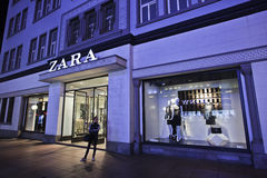 Zara fashion store at night, Dalian, China. DALIAN-CHINA-OCT. 13, 2012. Zara outlet on Oct. 13, 2012 in Dalian. Zara owner, Spain Inditex, has reported annual royalty free stock photo