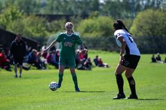 Zara Foley p? kvinnornas leken f?r nationella liga: Cork City FC vs Galway WFC royaltyfria bilder
