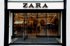 Zara logo and store front Stock Images
