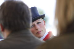 Zara Phillips  Dressage. Zara Phillips giving interviews after her dressage test at the Badminton Horse Trials ist May 2010. Mitsubishi Motors CCI**** Stock Image