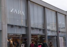 Zara store front. Brighton, United Kingdom - March 29 2018:   The frontage of Zara in Churchill Square Stock Photo