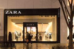 Zara store. Zara is one of the largest international fashion companies and it`s the flagship chain store of the Inditex group. royalty free stock photography
