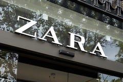 Zara store in Passeig de Gracia in Barcelona stock image