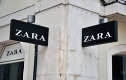 Zara store sign. Lisbon, Portugal - December 25, 2013: Zara store sign on the grey building on Agusta street in Baixa district of Lisbon on December 25, 2013 Stock Photography