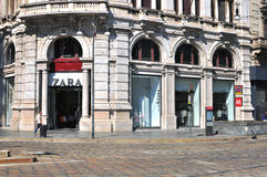 Zara in the street of Milan Stock Image