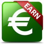 Zarabia euro znaka zieleni kwadrata guzika Obrazy Stock
