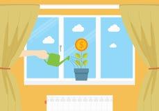 Zarabia pieniądze konceptualną ilustrację w domu Ilustracji