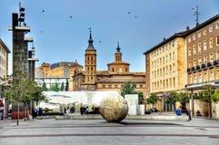 Pilar square in Zaragoza Royalty Free Stock Images