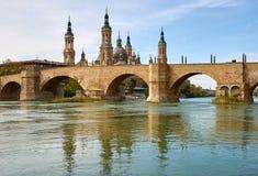 Zaragoza, Aragà ³ n, Hiszpania Puente De Piedra zdjęcia royalty free