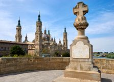 Zaragoza, Aragon, Spain. Cathedral and bridge over the Ebro river, Zaragoza, Aragon, Spain Stock Photography