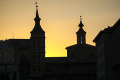 Zaragoza (Aragon, Spain), at evening. Zaragoza (Aragon, Spain): fhistoric buildings at evening, silhouettes Royalty Free Stock Photos